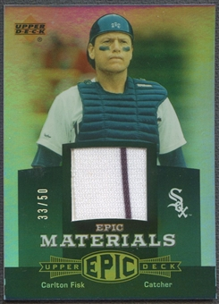2006 Upper Deck Epic #CF2 Carlton Fisk Materials Dark Green Jersey #33/50
