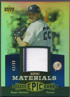 2006 Upper Deck Epic #RC1 Roger Clemens Materials Blue Jersey #43/99