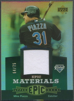 2006 Upper Deck Epic #MP1 Mike Piazza Materials Green Jersey #64/75