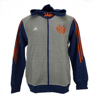 New York Knicks Adidas Heather Grey & Blue Pre-Game Full Zip Fleece Hoodie (Adult L)