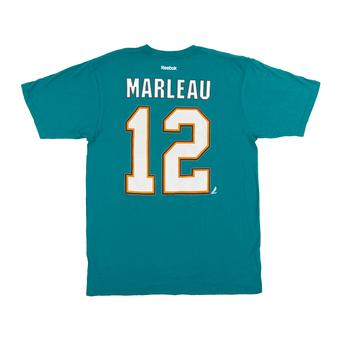 San Jose Sharks #12 Patrick Marleau Reebok Teal Name & Number Tee Shirt (Adult L)