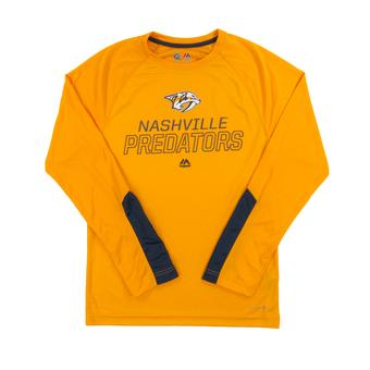 Nashville Predators Majestic Gold Cutting Through Performance Long Sleeve Tee Shirt (Adult L)