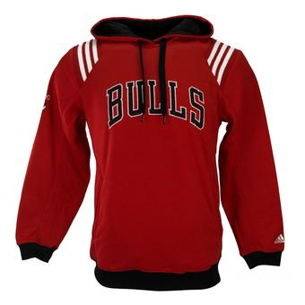 Chicago Bulls Adidas Red Three Stripe Fleece Pullover Hoodie (Adult L)
