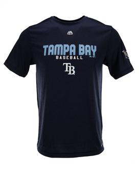 Tampa Bay Rays Majestic Heather Navy Take The Field Performance Tee Shirt (Adult M)