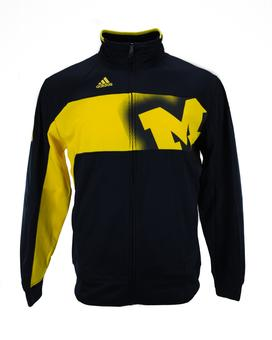 Michigan Wolverines Adidas Navy Climawarm Player Warmup Full Zip Track Jacket (Adult XL)