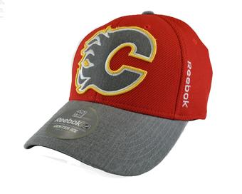 Calgary Flames Reebok Red Playoffs Cap Flex Fitted Hat (Adult L/XL)