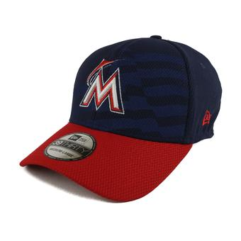 Miami Marlins New Era Navy 39Thirty Stars & Stripes Flex Fit Hat (Adult L/XL)