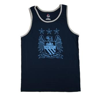 Manchester City F.C Majestic Navy Crest Tank Top (Adult M)
