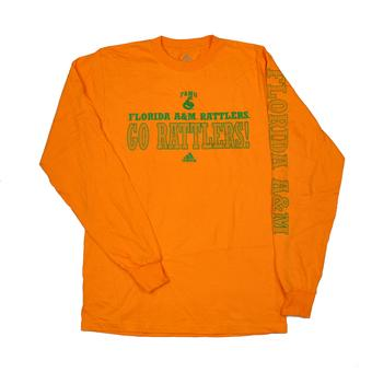 Florida A&M Rattlers Adidas Orange Long Sleeve Tee Shirt (Adult S)