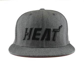 Miami Heat Adidas NBA Grey Fitted Flat Visor Flex Hat (Adult L/XL)