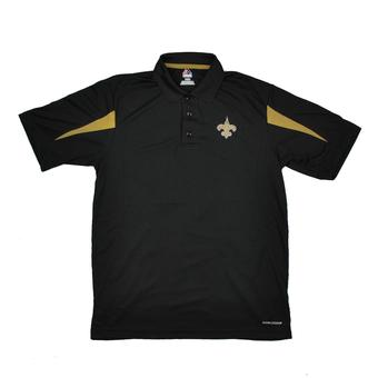 New Orleans Saints Majestic Black Field Classic Cool Base Performance Polo (Adult S)