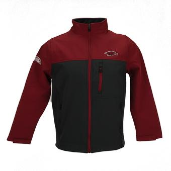 Arkansas Razorbacks Colosseum Red & Grey Yukon II Softshell Full Zip Jacket (Adult S)