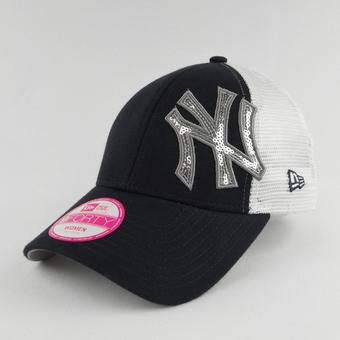 New York Yankees New Era 9Forty Navy Sequin Shimmer Adjustable Hat (Womens OSFA)