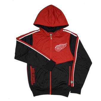 Detroit Red Wings Old Time Hockey Chaser Red & Black Full Zip Hoodie (Adult S)