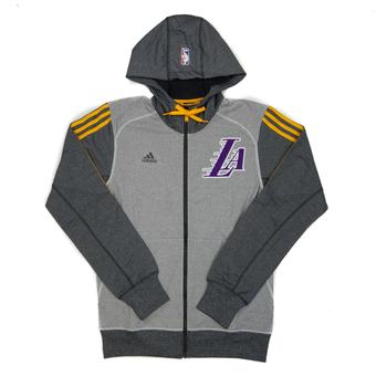 Los Angeles Lakers Adidas Heather Grey & Gold Pre-Game Full Zip Fleece Hoodie (Adult L)