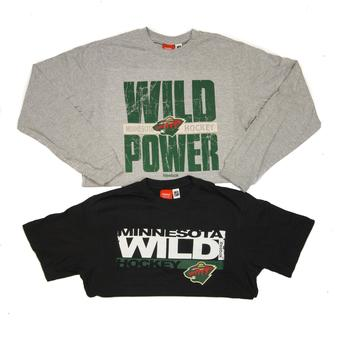Minnesota Wild Reebok Black Hat Trick Combo Short & Long Sleeve Tee Shirt (Adult M)