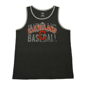 Cleveland Indians Majestic Charcoal Gray Valiant Victory Tank Top (Adult M)