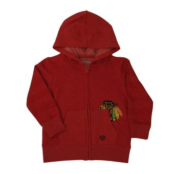 Chicago Blackhawks Old Time Hockey Wipeout Red Toddler Full Zip Fleece Hoodie (Toddler 3T)