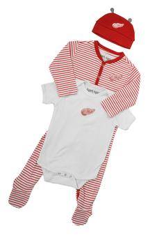 Detroit Red Wings Old Time Hockey Red & White Creeper Bodysuit & Hat Set (Infant 24M)