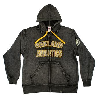 Oakland Athletics Majestic Charcoal Gray Reckoning Force Full Zip Fleece Hoodie (Adult M)