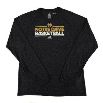 Notre Dame Fighting Irish Adidas Navy Climalite Performance Long Sleeve Tee Shirt (Adult L)