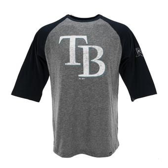 Tampa Bay Rays Majestic Heather Navy Power Hit 3/4 Sleeve Raglan Tee Shirt (Adult L)