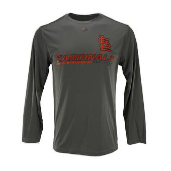 St. Louis Cardinals Majestic Gray Sweep Dreams L/S Performance Tee Shirt (Adult XXL)