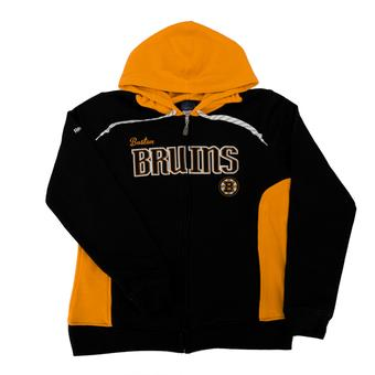 Boston Bruins Reebok Black & Yellow Full Zip Fleece Hoodie (Womens L)