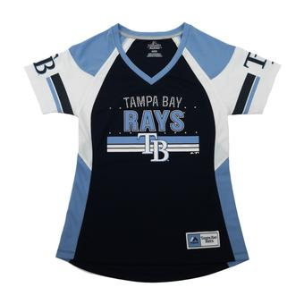 Tampa Bay Rays Majestic Navy Glowing Play Womens V-Neck Tee Shirt (Womens L)