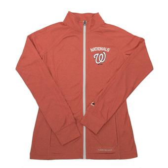 Washington Nationals Majestic Marled Red Count The Wins Womens Full Zip Jacket (Womens M)