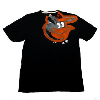 Baltimore Orioles Majestic Black Pinstripe Illusion Logo Tee Shirt