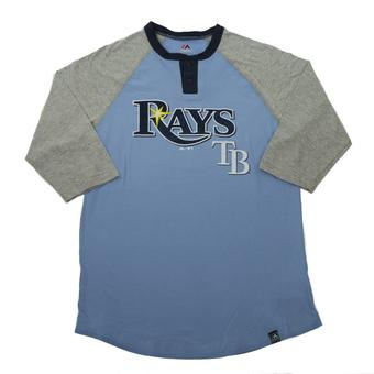 Tampa Bay Rays Majestic Blue Force Play 3/4 Sleeve Tee Shirt (Adult XL)