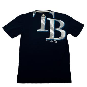 Tampa Bay Rays Majestic Navy Pinstripe Illusion Logo Tee Shirt (Adult L)