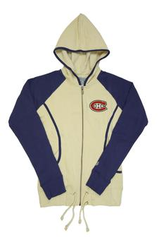 Montreal Canadiens Womens Old Time Hockey Cream & Blue Mel Full Zip Fleece Hoodie (Womens M)