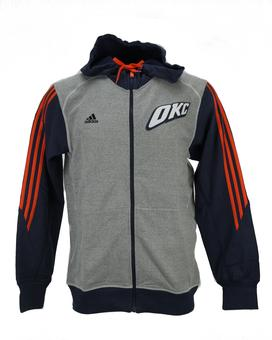 Oklahoma City Thunder Adidas Heather Grey & Navy Pre-Game Full Zip Fleece Hoodie (Adult L)