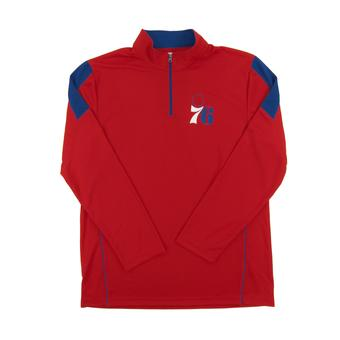 Philadelphia 76ers Majestic Red Status Inquiry Performance 1/4 Zip Long Sleeve