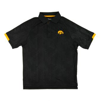 Iowa Hawkeyes Colosseum Black Gridlock Chiliwear Performance Polo Shirt (Adult L)
