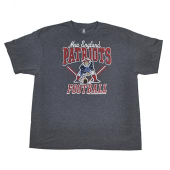 New England Patriots Junk Food Heather Navy Gridiron Tee Shirt (Adult L)