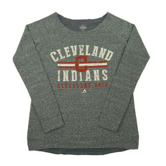 Cleveland Indians Majestic Heather Navy Neat Cleats Loose Neck Womens Sweatshirt (Womens M)