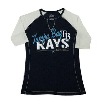 Tampa Bay Rays Majestic Navy Playful Pitch Womens Raglan Tee Shirt (Womens M)