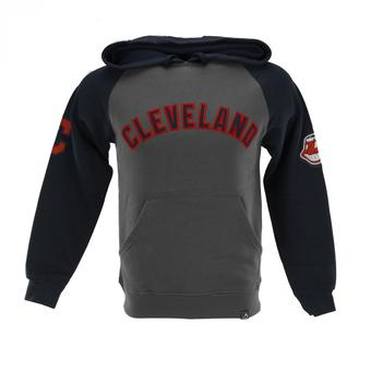 Cleveland Indians Majestic Gray & Navy Grand Slam Pullover Fleece Hoodie (Adult S)