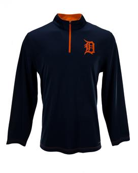 Detroit Tigers Majestic Navy Ready & Willing 1/4 Zip Long Sleeve Shirt (Adult M)