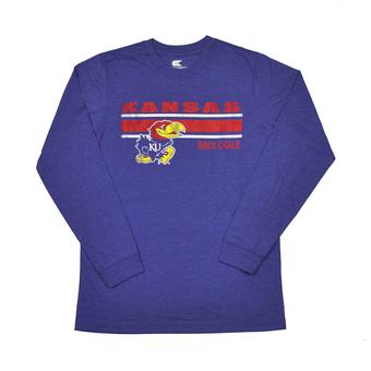 Kansas Jayhawks Colosseum Blue Warrior Long Sleeve Tee Shirt (Adult S)