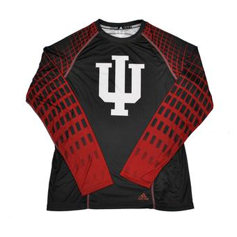 Indiana Hoosiers Adidas Black Toxic Climalite Performance Long Sleeve Tee Shirt (Adult S)
