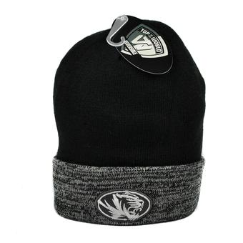 Missouri Tigers Top Of The World Black & Gray Quasi Cuffed Knit Hat (Adult One Size)