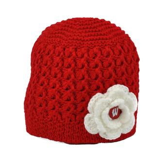 Wisconsin Badgers Top Of The World Womens Red Maritime Flower Knit Hat (Womens One Size)