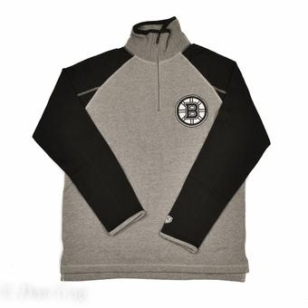 Boston Bruins Old Time Hockey Jarrett Grey & Black 1/4 Zip Fleece Crew (Adult L)
