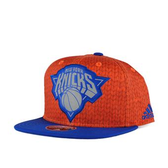 New York Knicks Adidas NBA Orange Flat Brim Snapback Hat (Adult One Size)