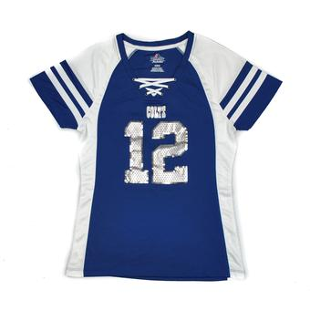 Indianapolis Colts Andrew Luck Majestic Blue Draft Him IV Tee Shirt