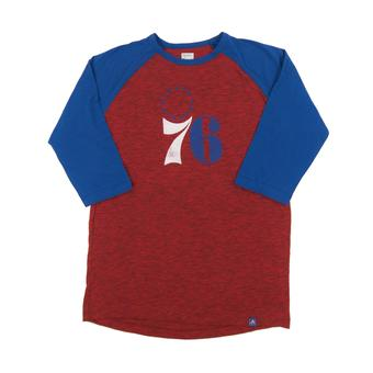 Philadelphia 76ers Majestic Red Don't Judge 3/4 Sleeve Dual Blend Tee Shirt (Adult S)